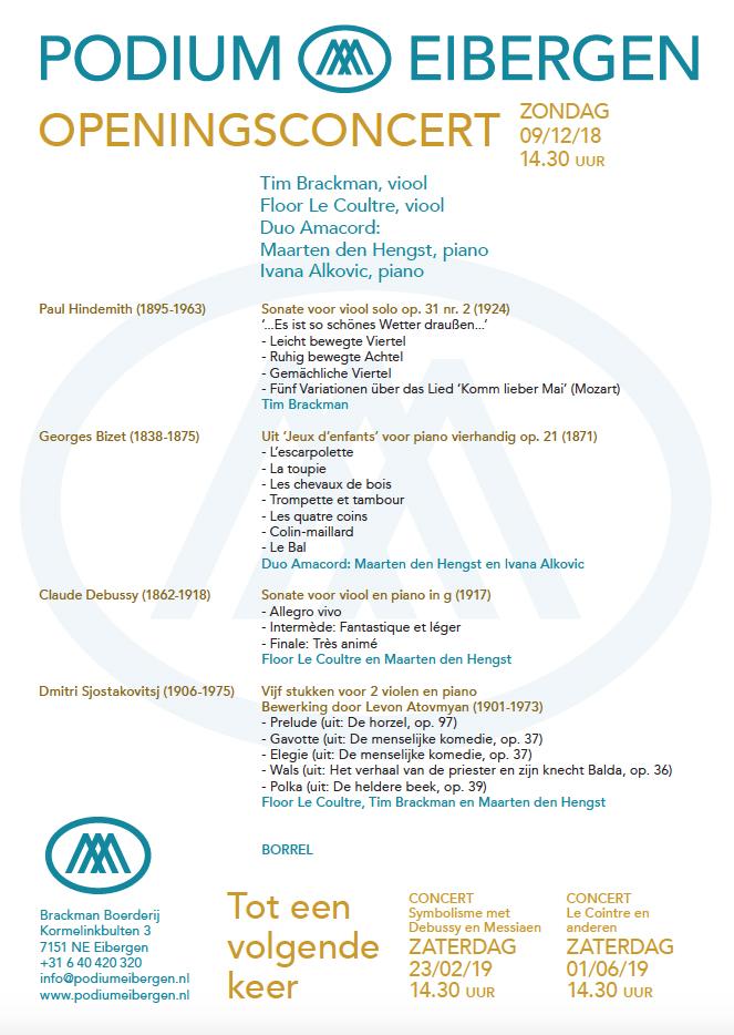 Programma 09-12-18 © Podium Eibergen H.E. Brackman