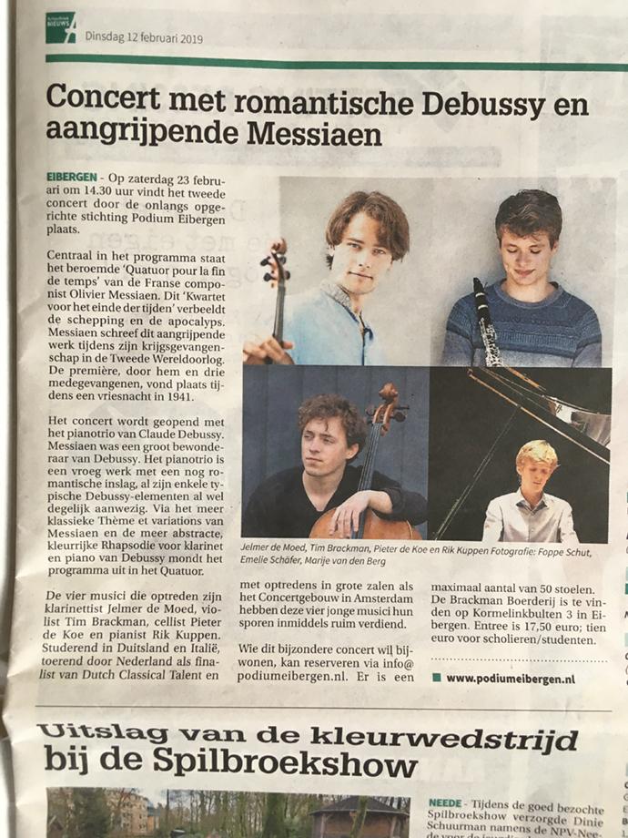 Achterhoek/Berkelland Nieuws 12-02-2019 over Debussy en Messiaen bij Podium Eibergen