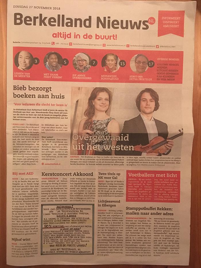 Berkelland Nieuws 27-11-2018 over openingsconcert Podium Eibergen